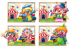 Four photo frame of clowns at the circus Royalty Free Stock Photo