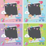 Four photo frames with baby items Stock Image
