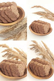 Four photos of biscuits in wood bowl on white. Four photos of biscuits with cocoa and chocolate in wood bowl on white background Royalty Free Stock Photography