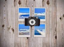 Four photos with icebergs Royalty Free Stock Photo