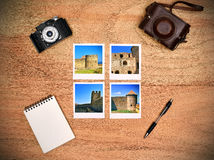 Four photos with medieval castle Royalty Free Stock Photo