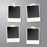 Four photos stick. Four vector taped vintage photo frames with transparent shadow Royalty Free Stock Photos
