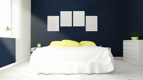 four picture frames on a bedroom Stock Photo