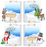 Four picture frames with christmas theme Stock Images