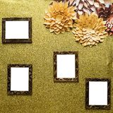 Four picture frames. On wood background royalty free stock photography