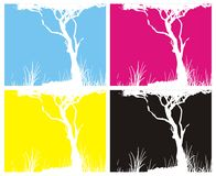 Four pictures CMYK colours. Illustration of Four pictures CMYK colours tree with grass Stock Images