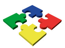Four-piece color puzzle Stock Images