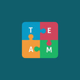 Four piece flat puzzle of team illustration. Piece of puzzle with team letter Stock Photography