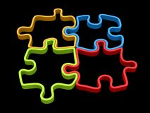 Four piece puzzle in red, blue, green and yellow. 3D outlines Royalty Free Stock Photography