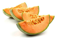 Four pieces of cantaloupe melon Stock Photography