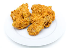 Four Pieces of Fried Chicken on White Plate Royalty Free Stock Photography
