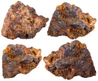 Four pieces of hematite (haematite) mineral stone Royalty Free Stock Photos