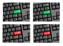 Four pieces of keyboard with highlighted keys. Royalty Free Stock Images