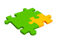 Four pieces of a puzzle combined together Stock Images