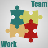 Four pieces of the puzzle. Teamwork. Vector illustration Stock Photos