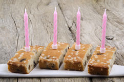 Four pieces of raisin cake Stock Image
