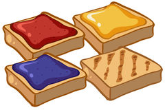 Four pieces of toasts with jam Stock Photography