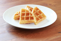 Waffle on white plate Royalty Free Stock Photos