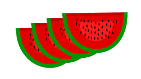 Four pieces of watermelon on a white background Royalty Free Stock Image