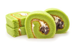 Four pieces of yummy cake made by green tea and mung bean Stock Photography