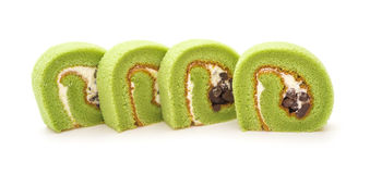 Four pieces of yummy cake made by green tea and mung bean Royalty Free Stock Images