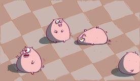 Four Pigs on a Floor Stock Photos