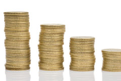 Four piles of money Stock Images
