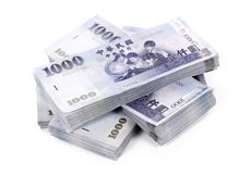 Four Stacks of New Taiwan Dollar Bank Notes Royalty Free Stock Images