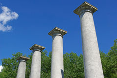 Four pillars. Four pillars from the ruins of an old mansion reach for the sky Royalty Free Stock Photo