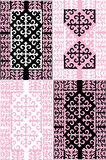 Four pink and black designs collection Royalty Free Stock Image