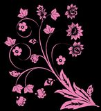 Four pink flower curl on black Royalty Free Stock Photo