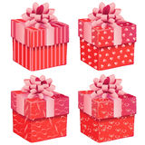 Four pink gift boxes Royalty Free Stock Photography