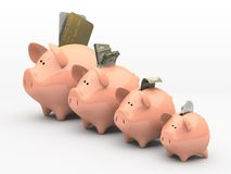 Four pink piggy banks. Showing profits and gains on white background stock illustration