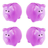 Four Pink Piggy Banks. Isolated on white studio background Stock Photo