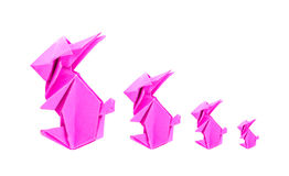 Four pink rabbit origami from paper Stock Photography