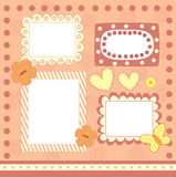 Four pink scrapbooking frames Royalty Free Stock Photography