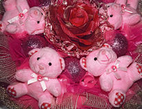 Four pink Teddy bears and artificial flower.Christmas compositio Royalty Free Stock Photos