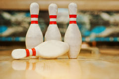 Four pins  at bowling wooden alley Stock Image