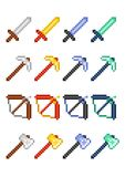 Four pixel icon sets with items for game: pickaxe, sword, bow and axe made of precious metals and minerals. stock illustration