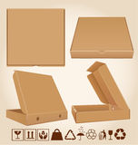 Four pizza box in different positions Stock Photo