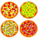 Four pizzas Stock Image