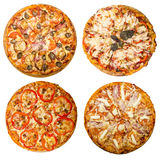 Four pizzas. Pizzas isolated on white background Royalty Free Stock Image