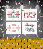 Four placard with start up concept on wall Royalty Free Stock Photo