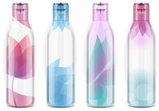 Four plastic bottles with candid color. Detailed illustration of a Four plastic bottles with candid color Royalty Free Stock Images