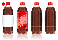 Four plastic bottles of cola with labels Royalty Free Stock Photo