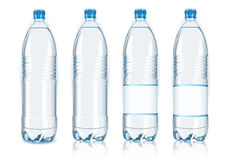Four plastic bottles with generic labels. Detailed illustration of a Four plastic bottles with generic labels Royalty Free Stock Photography