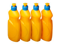 Four plastic bottles range Royalty Free Stock Photo