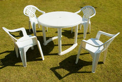 Four plastic chairs Stock Photo