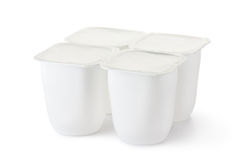 Four plastic container for dairy products Stock Image