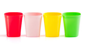 Four plastic cup Stock Images